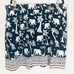 Navy Elephant Print Skirt